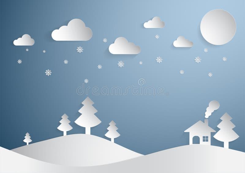 Snijden het de Kerstmis blauwe achtergrond en document concept met de sneeuwvlokboom en huis van de maanster royalty-vrije stock afbeelding