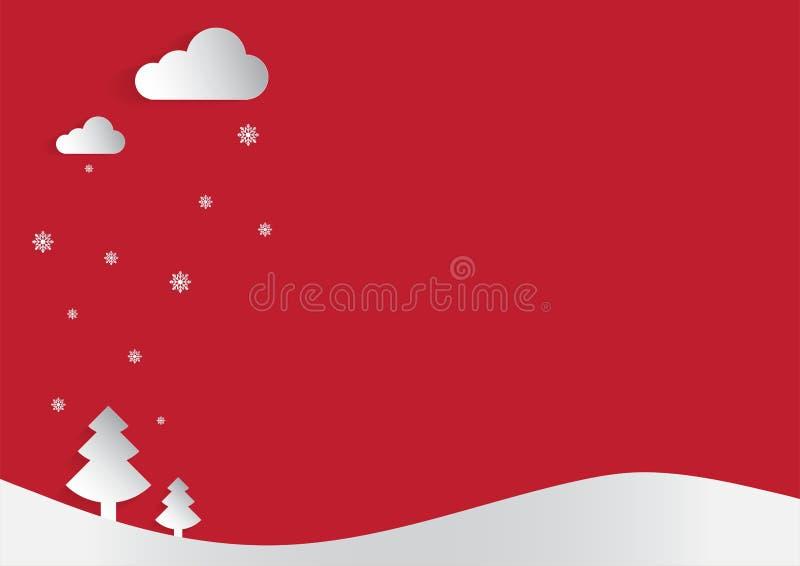 Snijden het de Kerstmis rode achtergrond en document concept met de sneeuwvlok en de boom van de maanster stock fotografie
