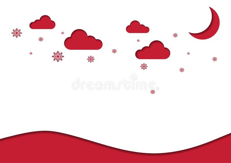 Snijden het de Kerstmis rode achtergrond en document concept met de sneeuwvlok van de maanster stock foto's