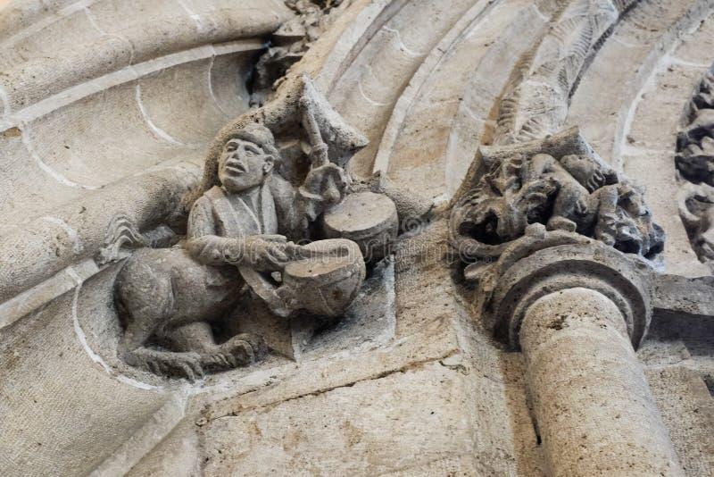 Snijdend in Lonja DE La Seda de Zijdeuitwisseling, Valencia, Spanje royalty-vrije stock afbeeldingen