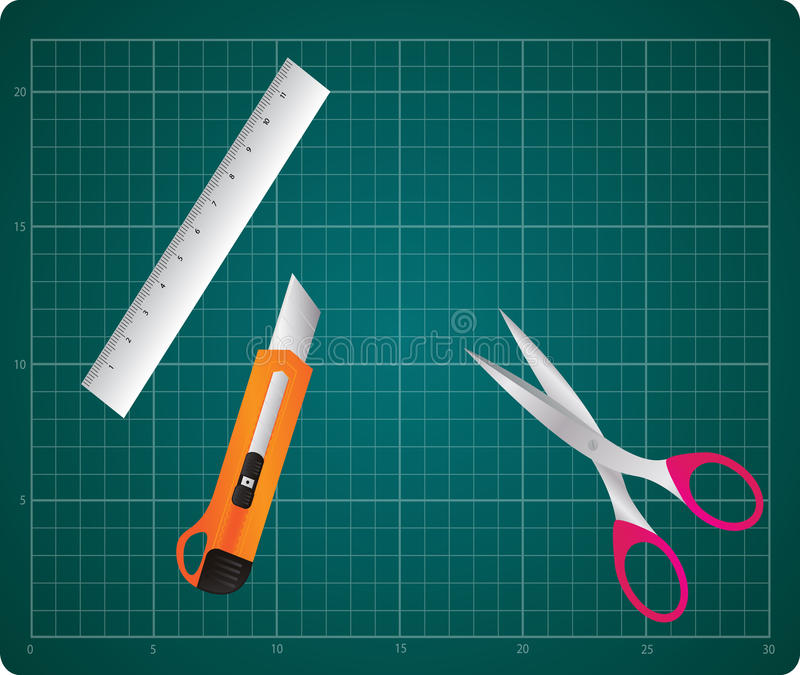 Snijdend Mat With Box Cutter, Heerser en Schaar stock illustratie