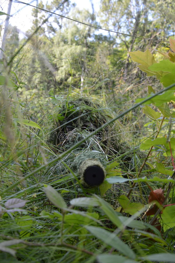 Sniper in the forest as silent warrior stock image