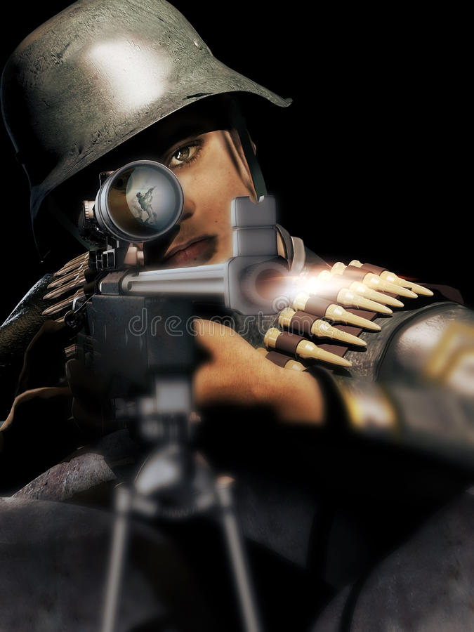 The sniper. German sniper from World War two, shooting at an american soldier whom we can see reflected in the telescopic sight royalty free illustration