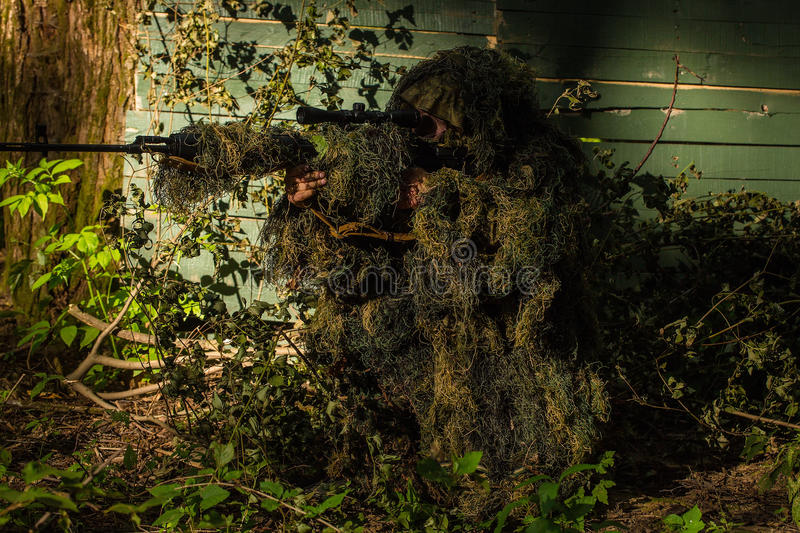 72 Ghillie Suit Wallpapers On Wallpaperplay: Sniper In Ghillie Suit Stock Photo. Image Of Target