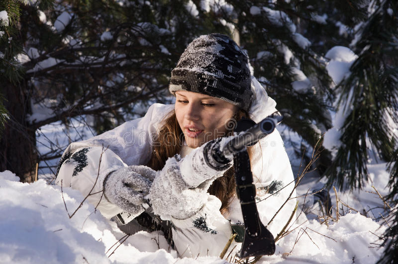 Download Sniper girl stock image. Image of person, hunting, russian - 23700547
