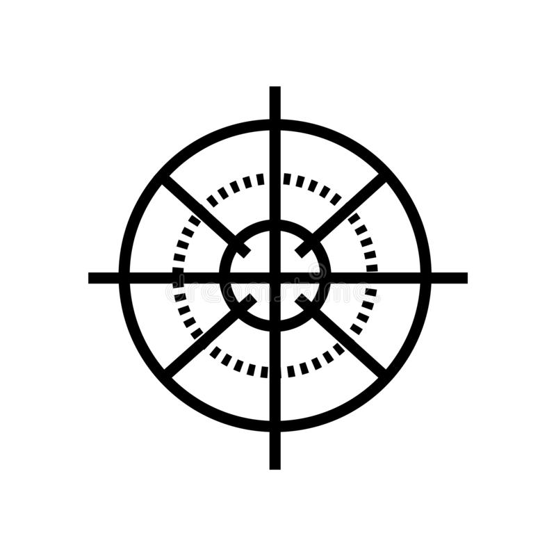 Sniper Gun Target icon vector isolated on white background, Sniper Gun Target sign , linear symbol and stroke design elements in royalty free illustration
