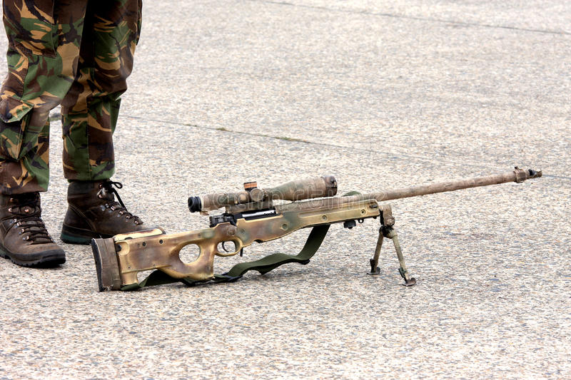 Download Sniper Rifle And Soldier Legs Stock Photo - Image: 11295698