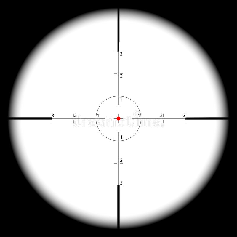 Sniper's scope sight view. Real scope sight with cross hairs - vector eps 10 royalty free illustration