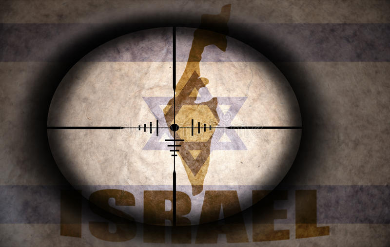 Sniper scope aimed at the israeli flag and map vector illustration