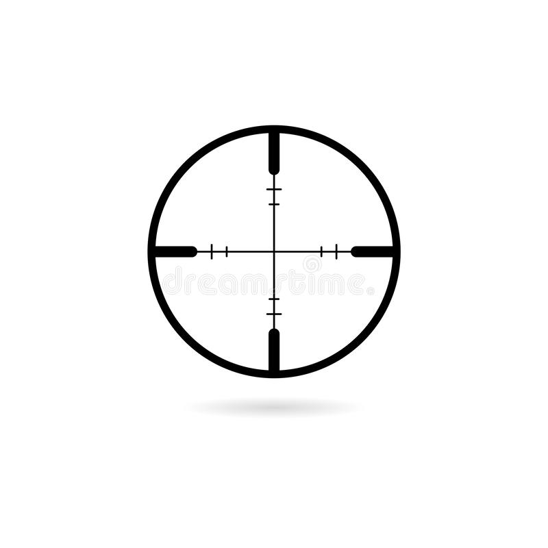 Sniper scope crosshairs thin icon. Isolated rifle gun target stock illustration
