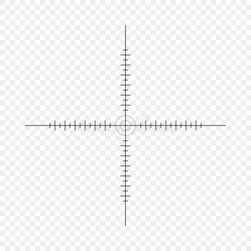 Sniper scope, scale. Crosshairs with tick marks. Icon. Vector concept of target search. Element isolated on light background. Sniper scope, scale. Crosshairs stock illustration