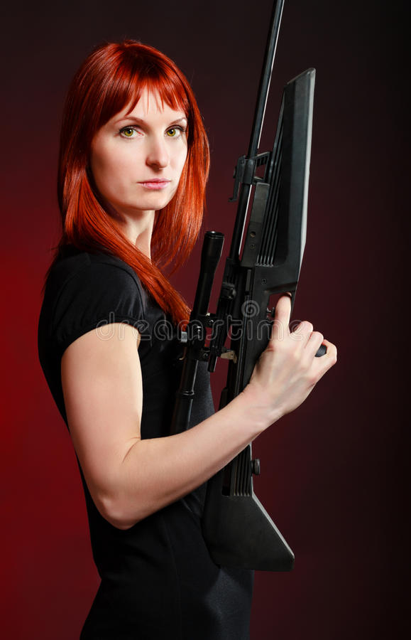Download Sniper Woman stock image. Image of adult, holding, optical - 19045797
