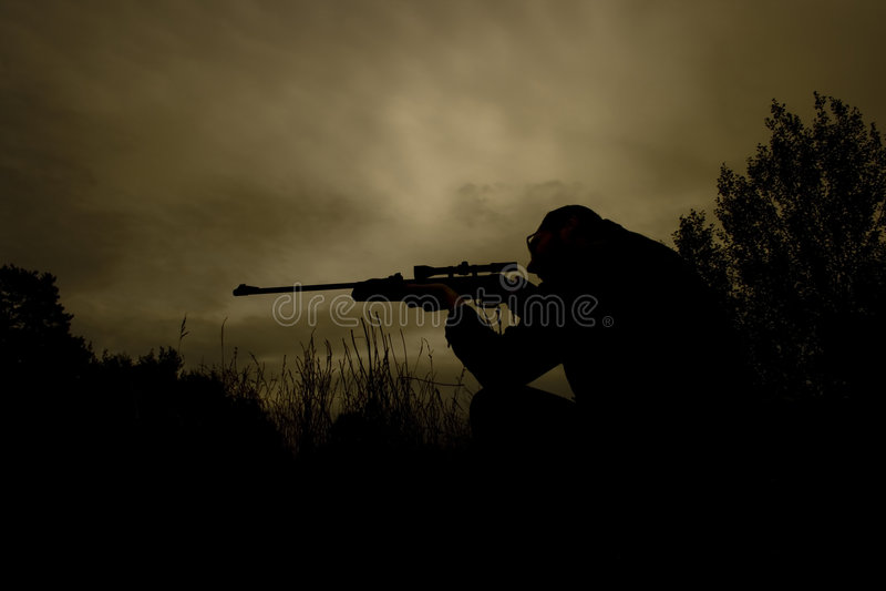 Sniper at work stock image