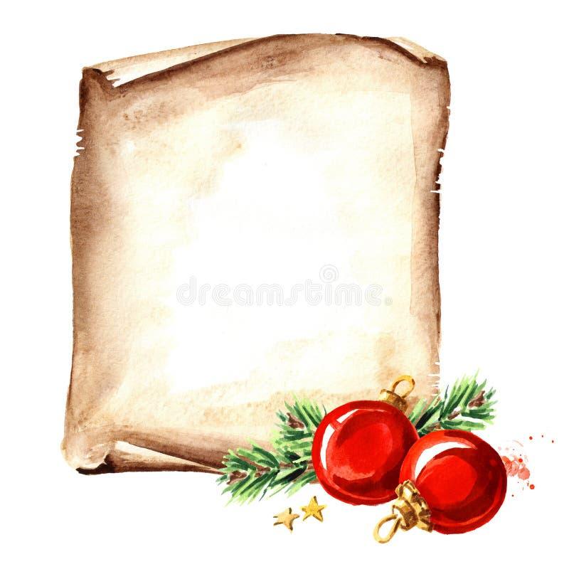 Snirkel av gammalt papper med röda bollar för jul Kortmall för nytt år Dragen illustration för vattenfärg som hand isoleras på vi stock illustrationer