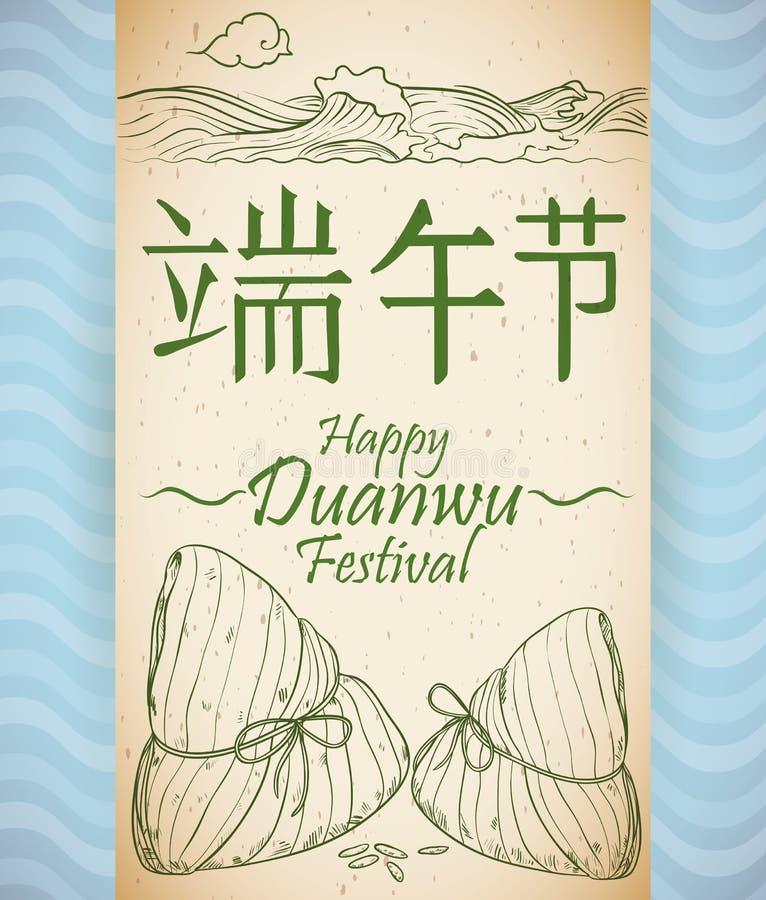 Snirkel med rekreation av Zongzis tradition i den Duanwu festivalen, vektorillustration stock illustrationer