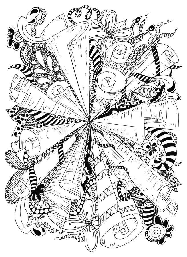 Snirklar för abstraktion för vektorillustrationzentangle forntida Klottermodeller, blommor Anti-spänning för färgläggningbok för vektor illustrationer