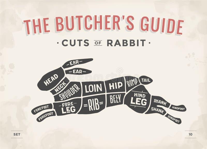 Snitt av köttuppsättningen Affischslaktarediagram, intrig - kanin royaltyfri illustrationer