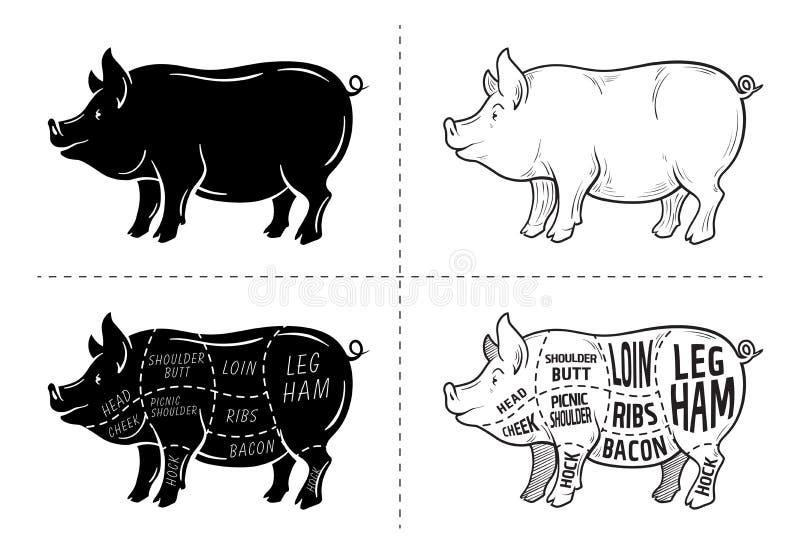 Snitt av köttuppsättningen Affischslaktarediagram, intrig och handbok - griskött Typografisk för tappning som hand-dras på en sva stock illustrationer
