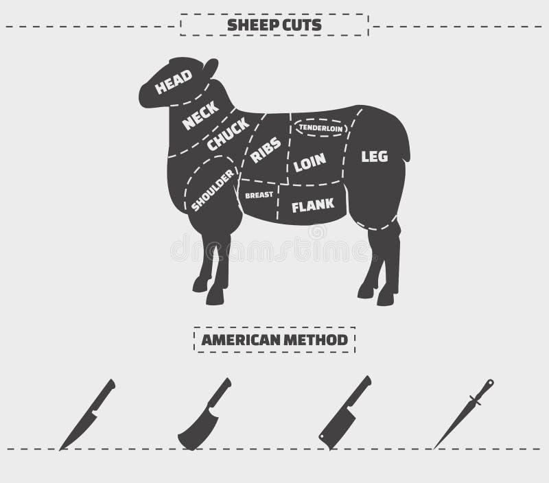 Snitt av lammkött stock illustrationer
