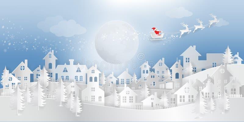 Snitt för papper för nytt år 2019 för jul av Santa Claus med ren f vektor illustrationer