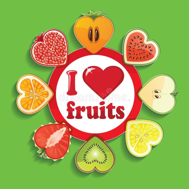 Snittet av frukter och bär i tecken älskar jag frukter royaltyfri illustrationer