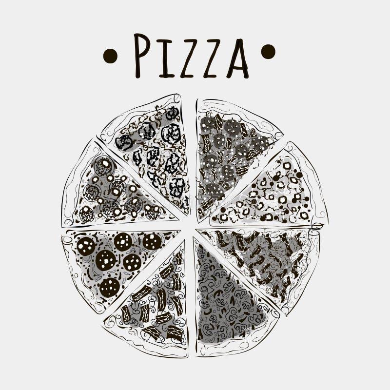 Snittpizza in i stycken av olika sorter svärtar på vit vektor illustrationer