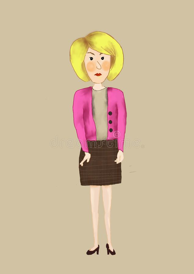 Snobby character woman royalty free illustration