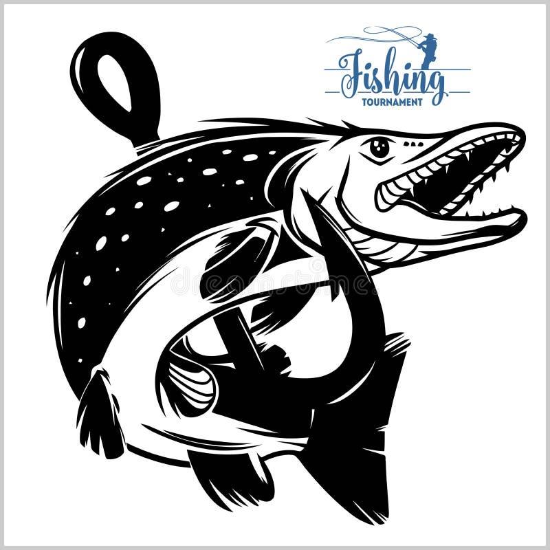 Snoeken het overhemd van het visserijembleem Het embleemvector van snoekenvissen Openlucht visserijthema als achtergrond royalty-vrije illustratie