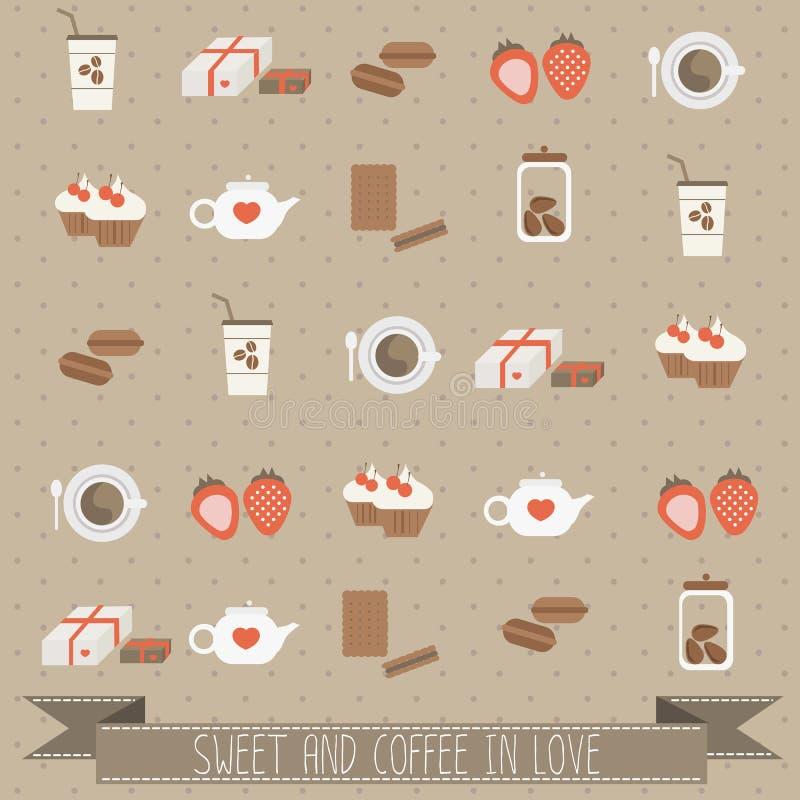 Snoepje en koffie in liefde vector illustratie
