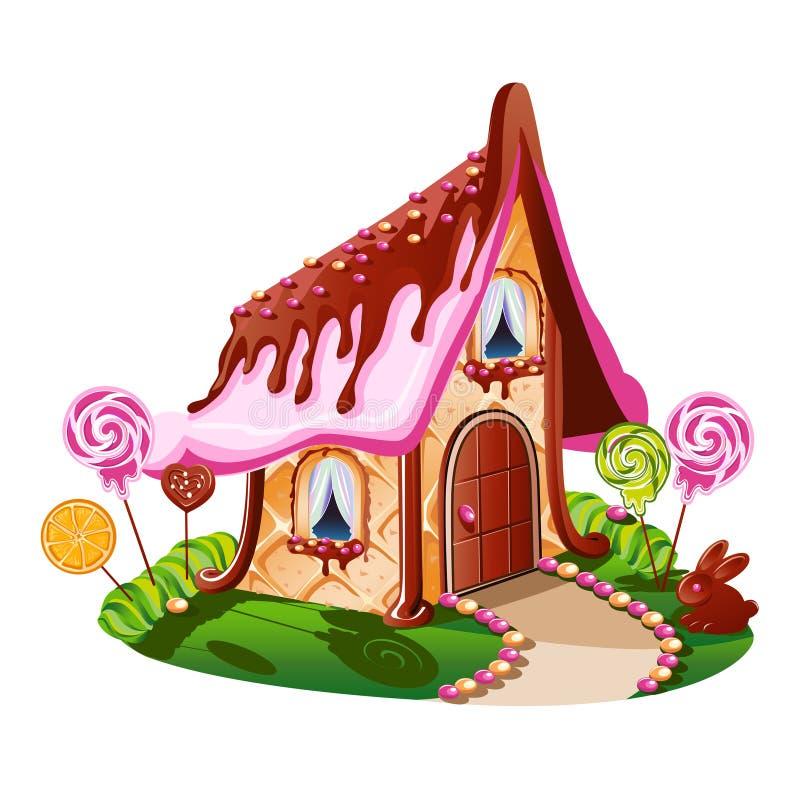 Snoepje weinig huis met chocolade en verfraaid met suikergoed vector illustratie