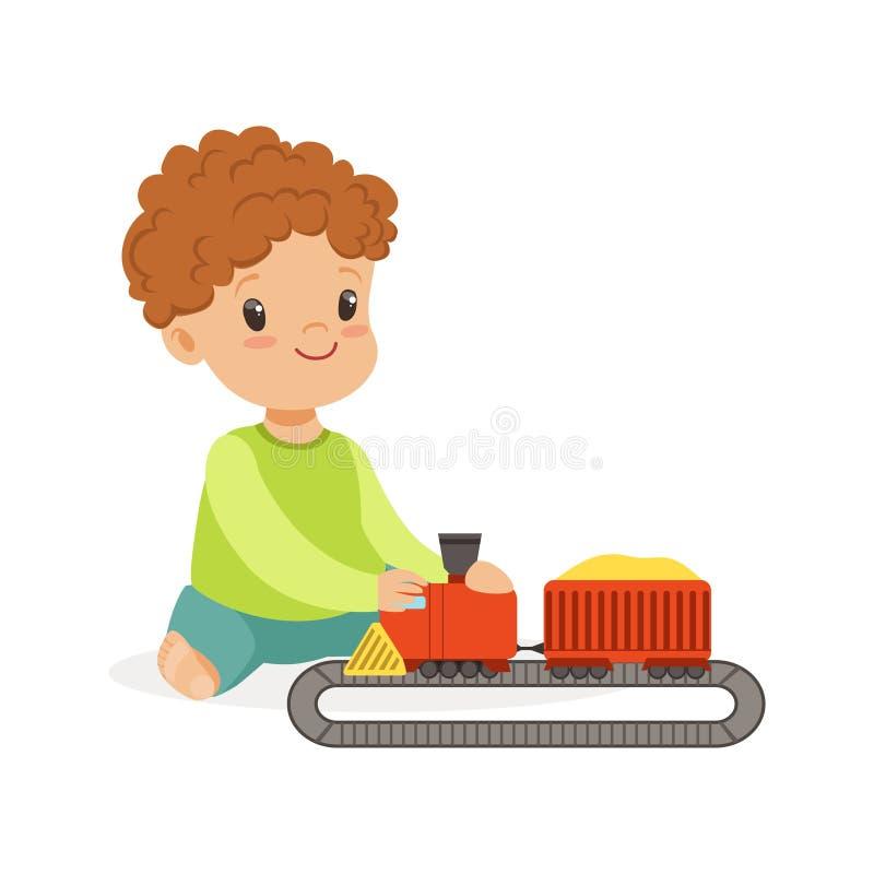Snoepje weinig jongen het speel spelen met stuk speelgoed spoorwegweg en trein, kleurrijke karakter vectorillustratie royalty-vrije illustratie