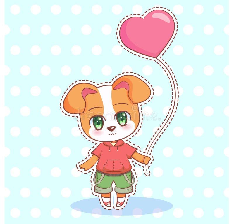 Snoepje Weinig leuk van de het Puppyhond van het kawaii anime beeldverhaal jongen en meisje met roze ballon in de vorm van een ha stock illustratie