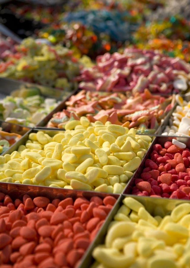 Snoepjes bij een marktsamenvatting royalty-vrije stock foto