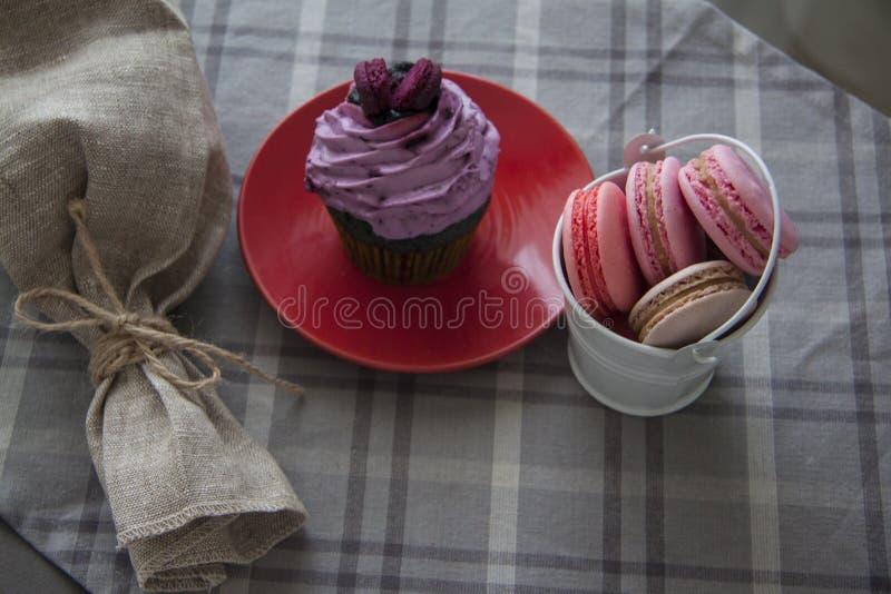 Snoepjes: cupcake en macarons royalty-vrije stock foto's