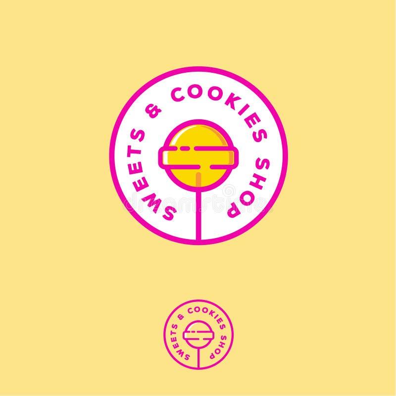Snoepjes en koekjeswinkelembleem Het embleem van de snoepjesopslag Geel suikergoed op een stok in een cirkel met brieven vector illustratie