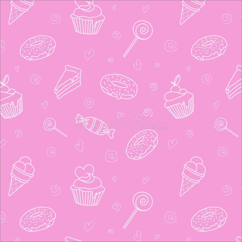 Snoepjes op de roze Vector Als achtergrond stock illustratie