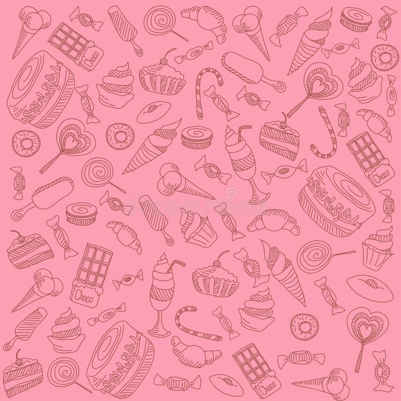 snoepjes op roze vector illustratie