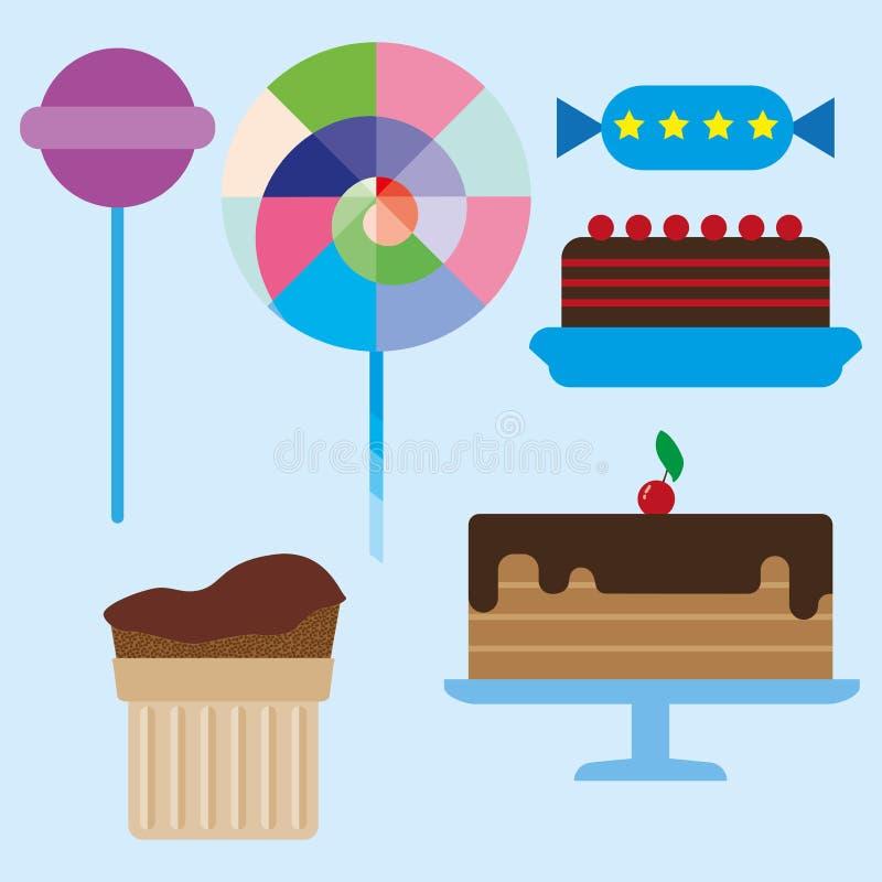 Snoepjeskaart met de cakes van de chocoladeroom stock illustratie