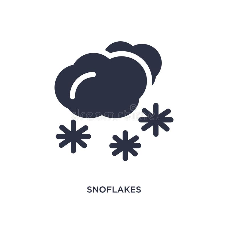 Snoflakes winter cloud icon on white background. Simple element illustration from meteorology concept. Snoflakes winter cloud icon. Simple element illustration stock illustration