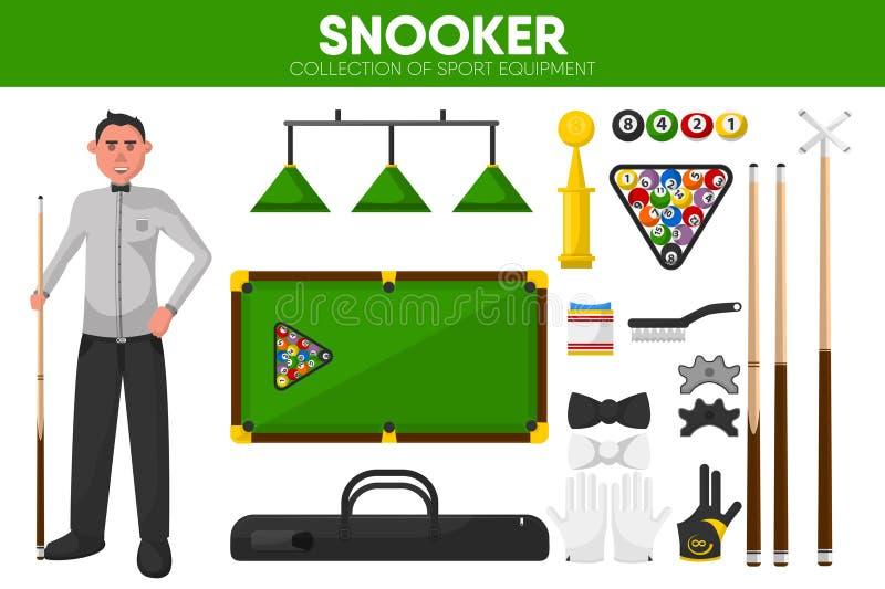 Snookerów billiards sporta wyposażenia basenu gracza szaty akcesoryjne wektorowe płaskie ikony ustawiać ilustracja wektor