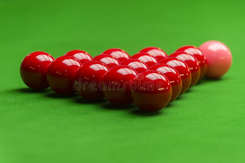 Snooker ball on snooker table, Snooker or Pool game on green table, International sport.  stock photography
