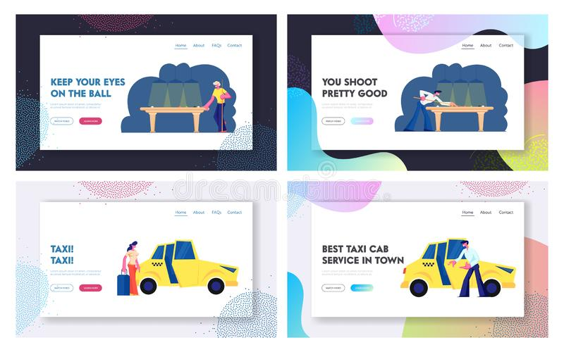 Snooker, Billiard Game, Taxi Service Website Landing Page Set, Men Playing on Green Table in Club, Woman with Luggage. Going to Sit in Yellow Cab, Taxi Web Page vector illustration