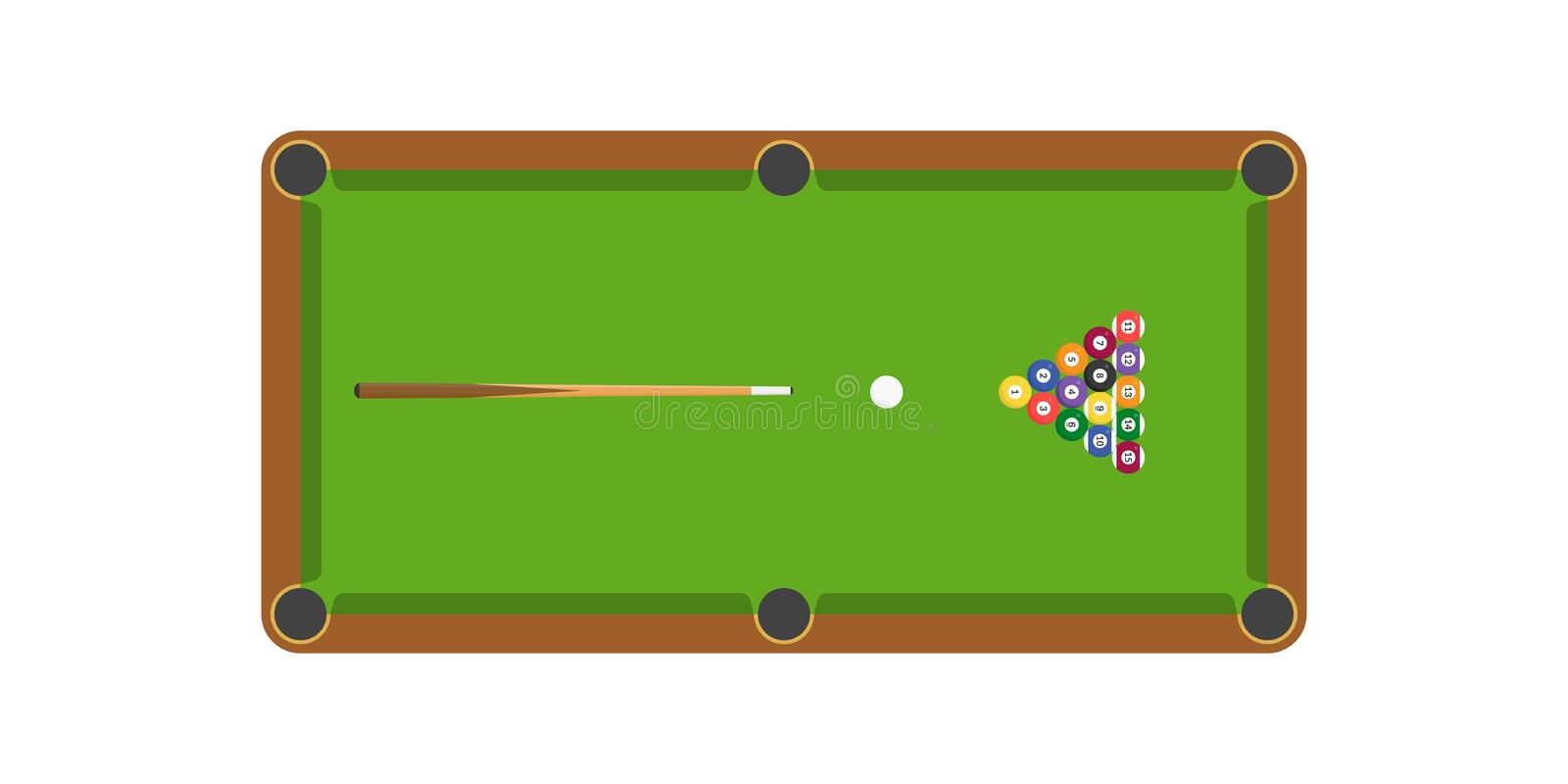 Snooker or billiard table and cue stick and billiard ball, flat design royalty free illustration