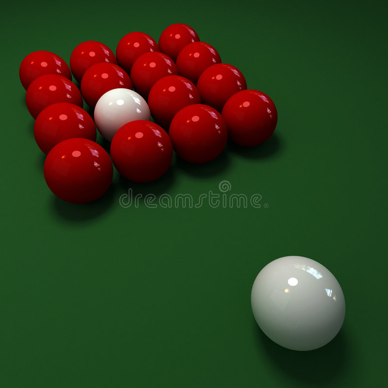 Snooker game with red and white balls