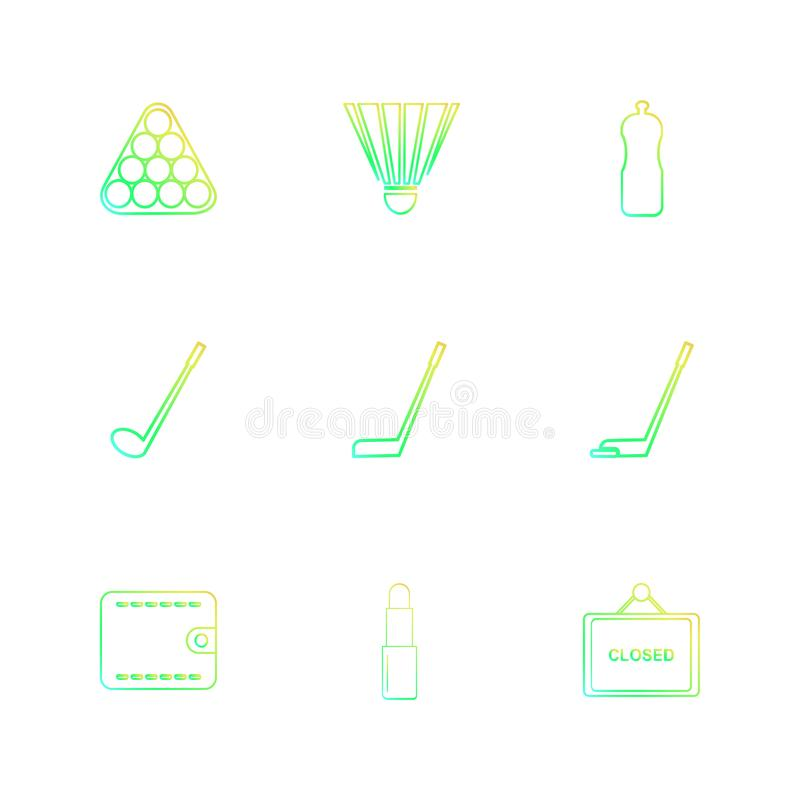 snooker, golf, portefeuilles, badminton, sporten, spelen, fitness stock illustratie