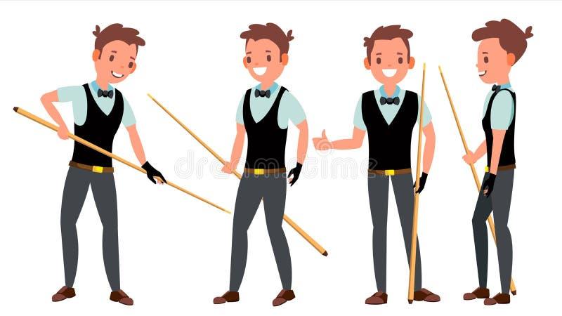 Snooker-männlicher Spieler-Vektor In der Aktion Berufsspieler-Spielen Pool-Zimmer billiard Zeichentrickfilm-Figur-Illustration lizenzfreie abbildung
