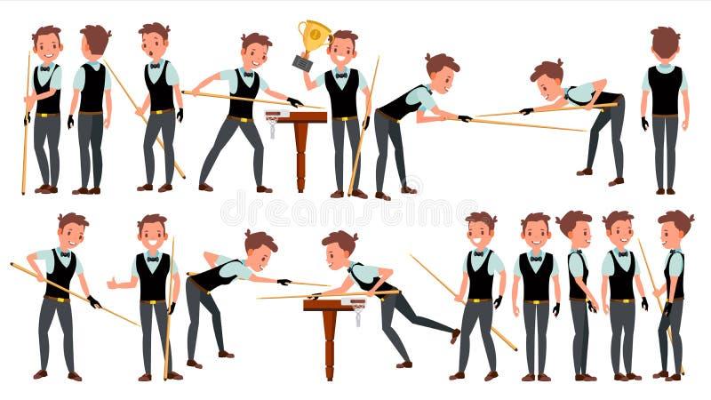 Snooker-Mann-Spieler-Mannesvektor billiard Kleiderzusatz Leutespielen Karikatur-Athlet Character Illustration lizenzfreie abbildung