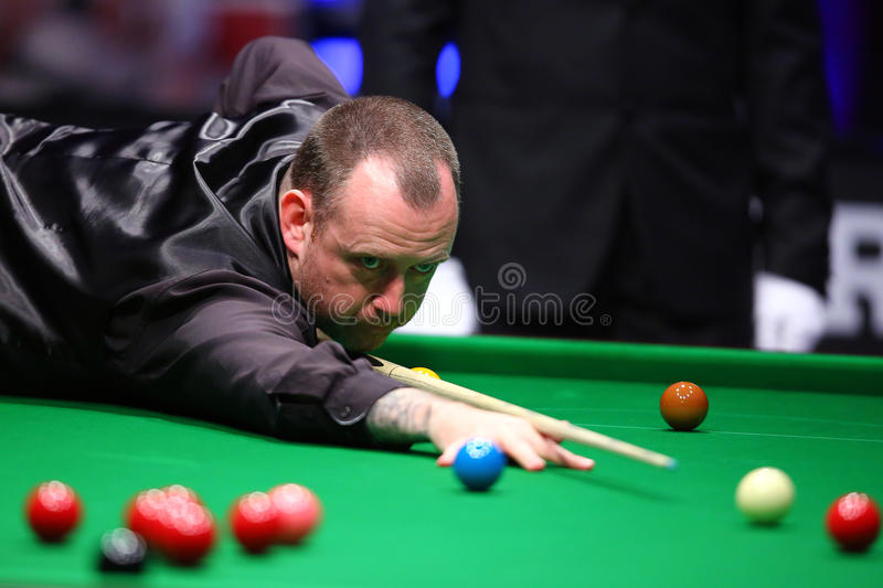 Snooker player, Mark Williams. Welsh professional snooker player, Mark James Williams, pictured during the Snooker Titans Trophy held in Bucharest, Romania royalty free stock image