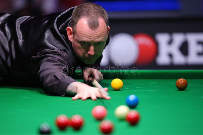 Snooker player, Mark Williams. Welsh professional snooker player, Mark James Williams, pictured during the Snooker Titans Trophy held in Bucharest, Romania royalty free stock photos