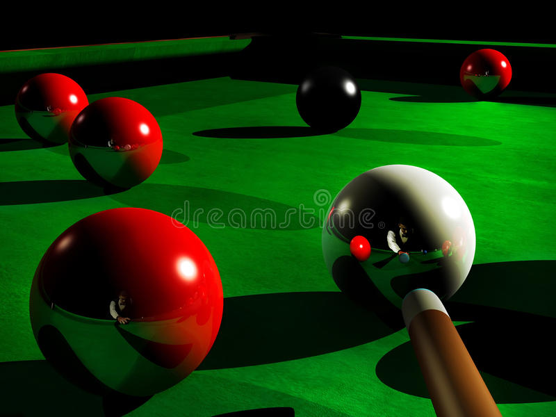 Snooker. Player, ready to hit the white ball, reflected on several red balls royalty free illustration
